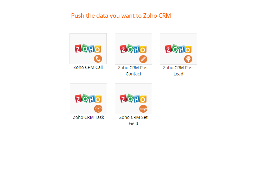 zoho integration map actions